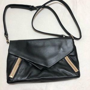 POUR La VICTOIRE Black And Tan Leather Crossbody